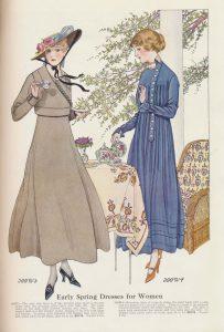 two ladies wearing early Spring dresses enjoying tea