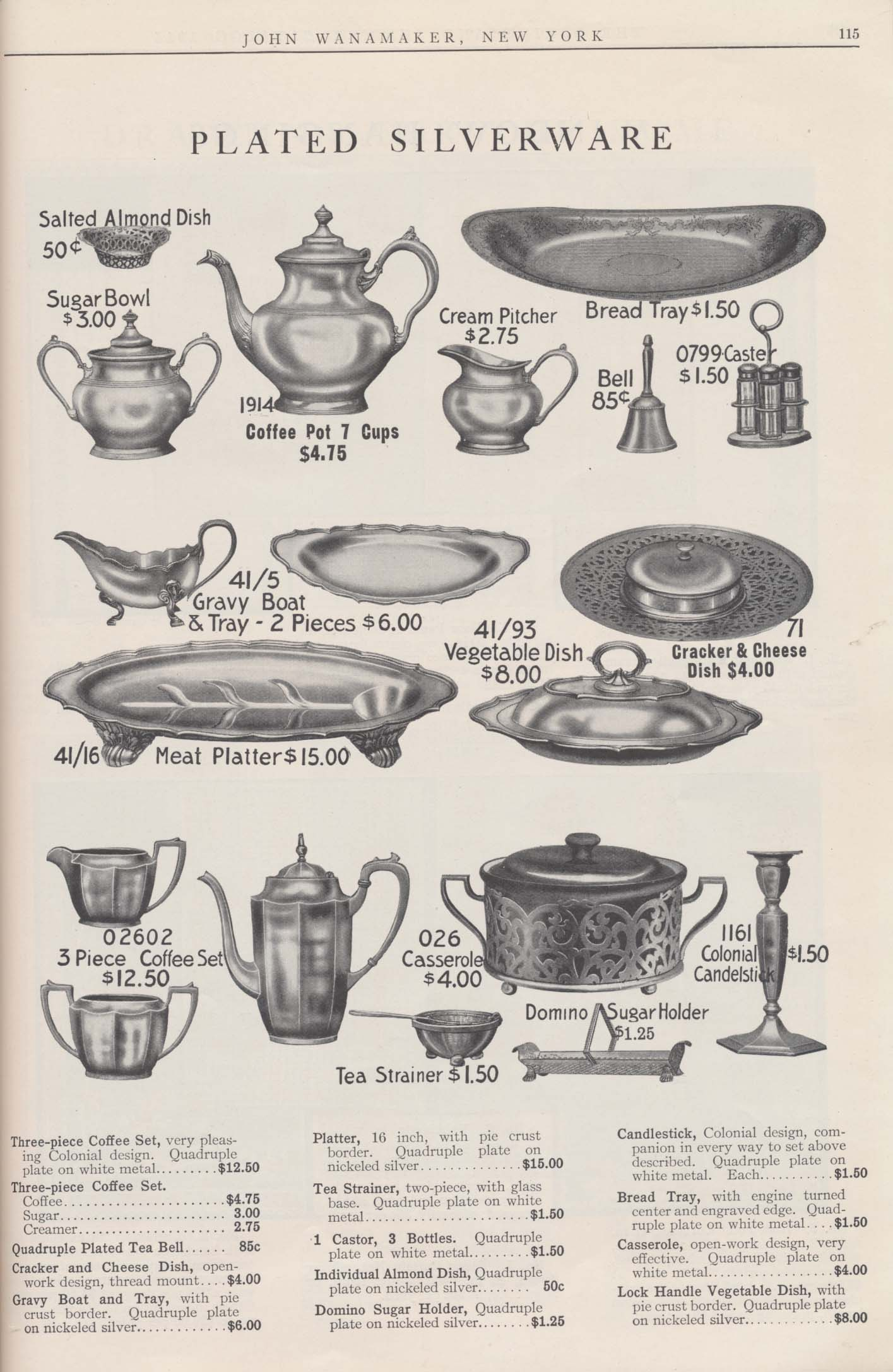 plated silverware including coffee sets, tea strainer, tea bell, dishes, trays, platter, casserole, candlestick, etc.