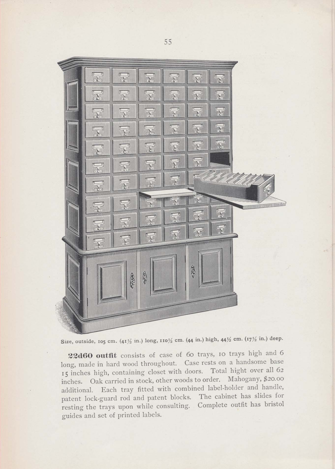 60-tray card catalog with one tray resting on a slide