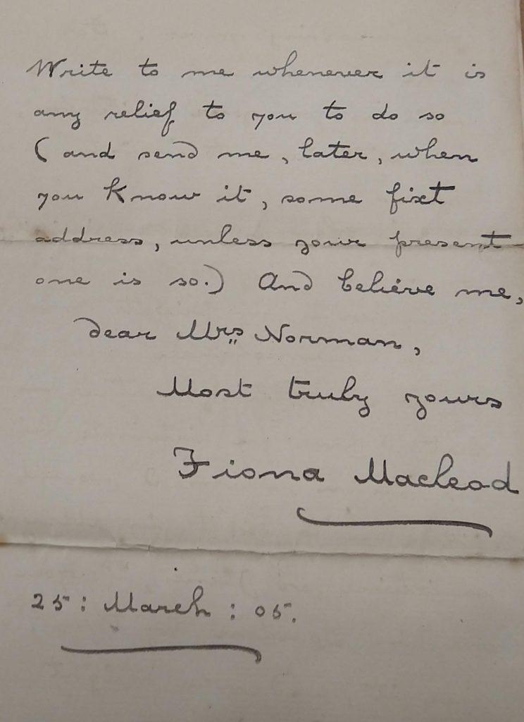 Fiona Macleod letter to da Loria Norman