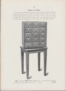 15 drawer card catalog on table base with revolving top