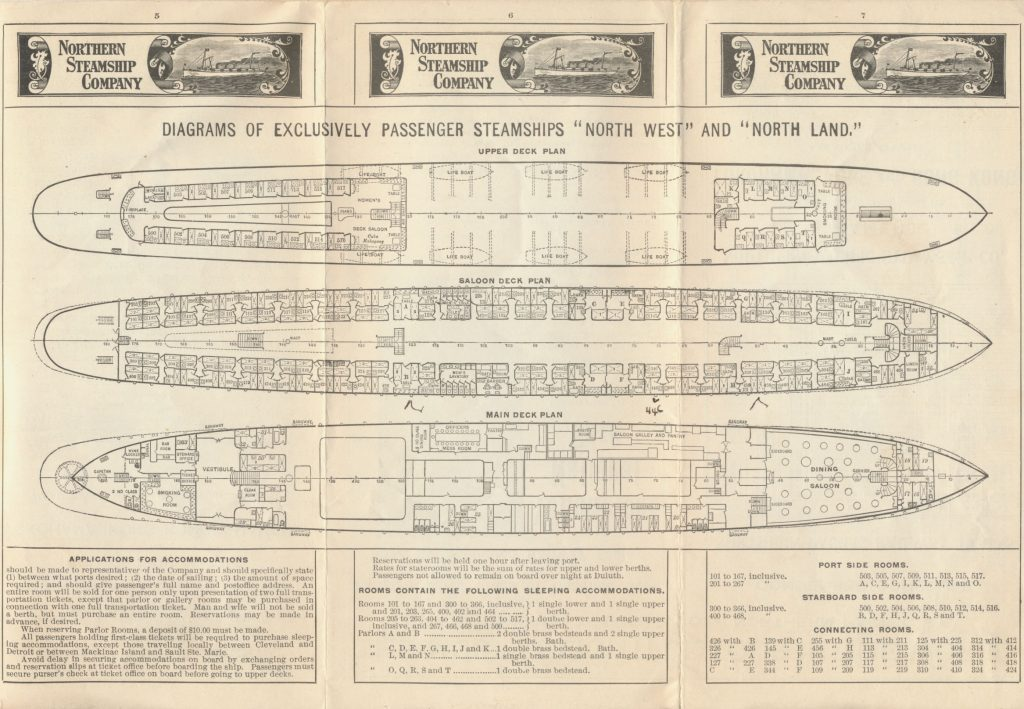 "diagram of plans for Upper Deck, Saloon Deck, and Main Deck for steamships ""North West"" and ""North Land"""