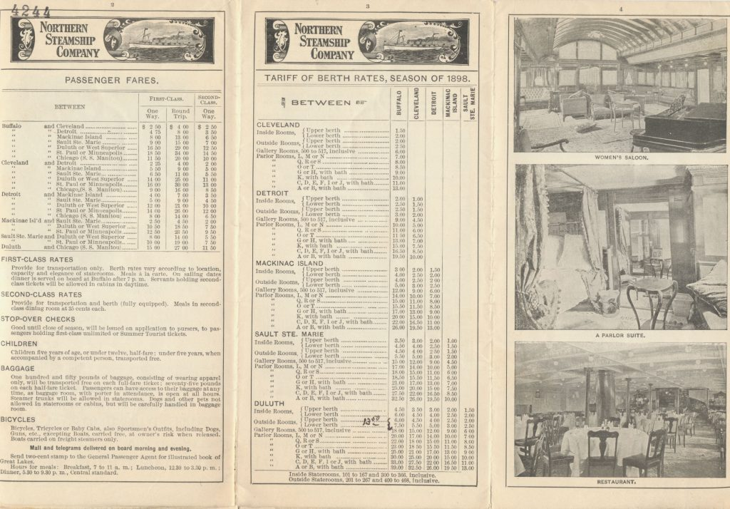 passenger fares, tariff of berth rates for season of 1898, and images of Women's Saloon, Parlor Suite, and Restaurant