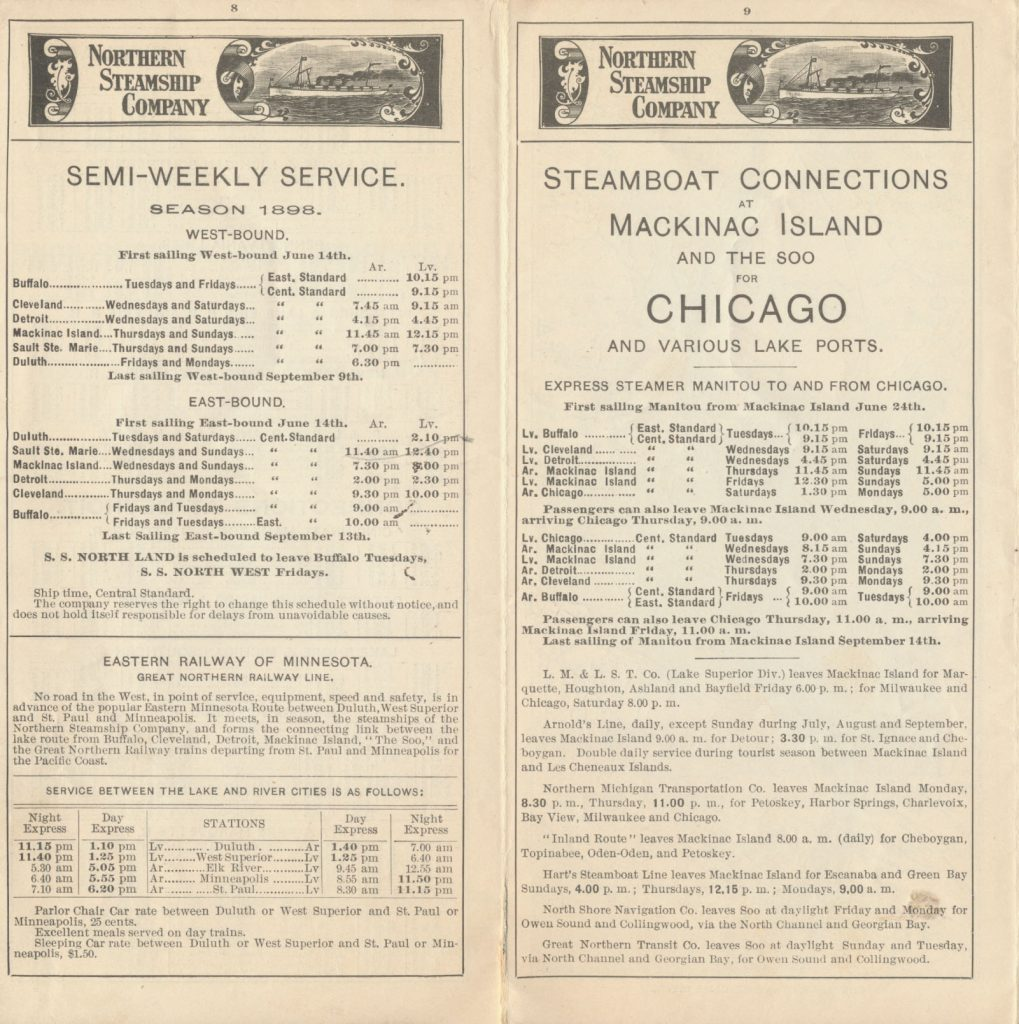 semi-weekly service for 1898 season and connections for railroads and steamboats