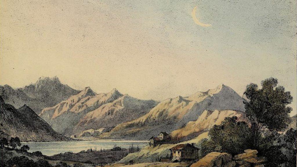 waning moon in landscape