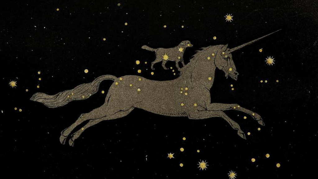 Pictorial depiction of constellations monoceros and canis minor