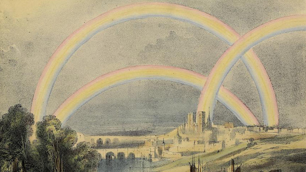 various rainbows in a landscape scene