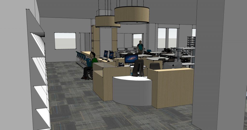 Digital drawing of library space. Periodical shelves along wall on left, tan reference desk on right. Tables in background.