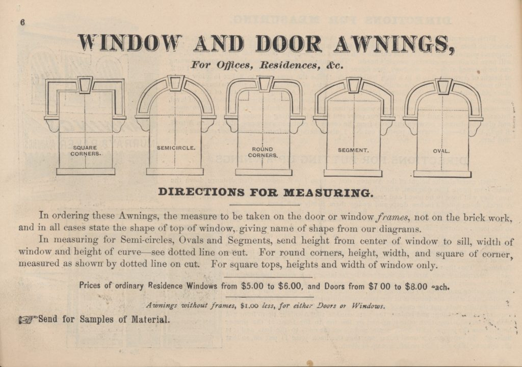 shapes for the top of window awnings to assist with measurements