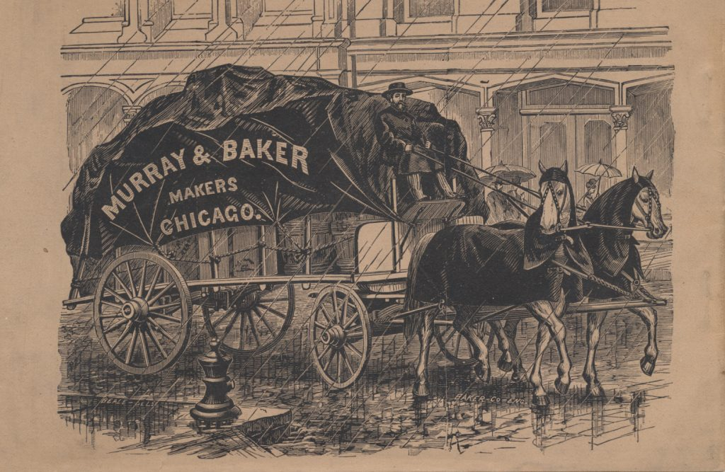 man driving a wagon pulled by two horses wearing covers and hoods on a street in the rain with pedestrians in background
