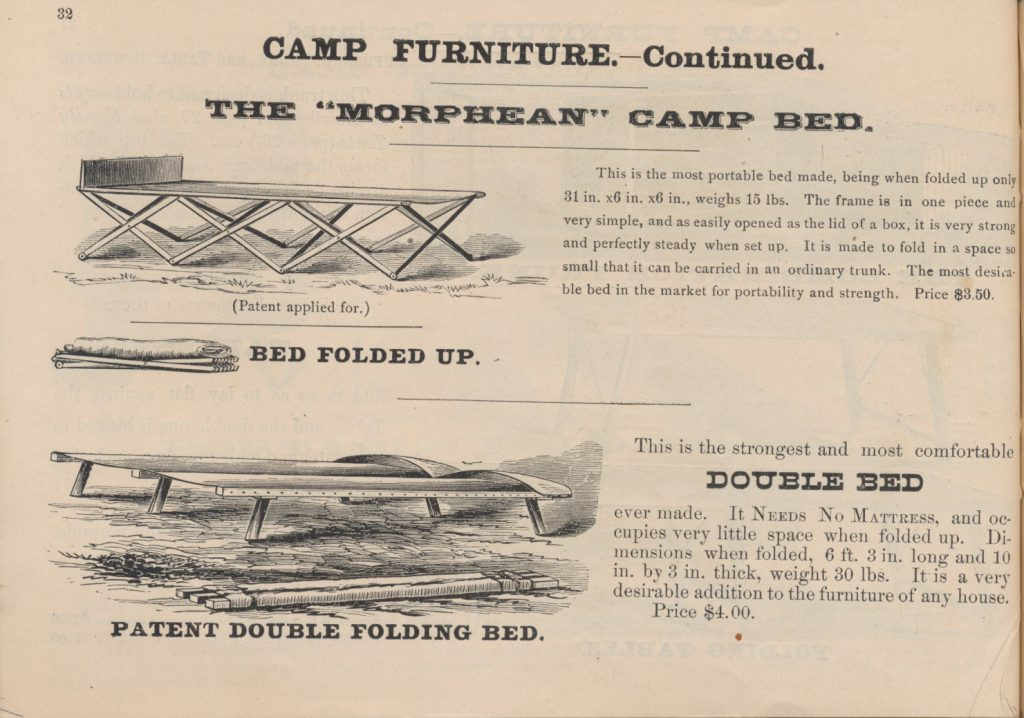 """Morphean"" Camp Bed and Patent Double Folding Bed"
