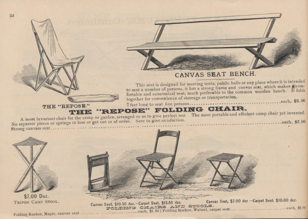 camp chairs, stools, and bench