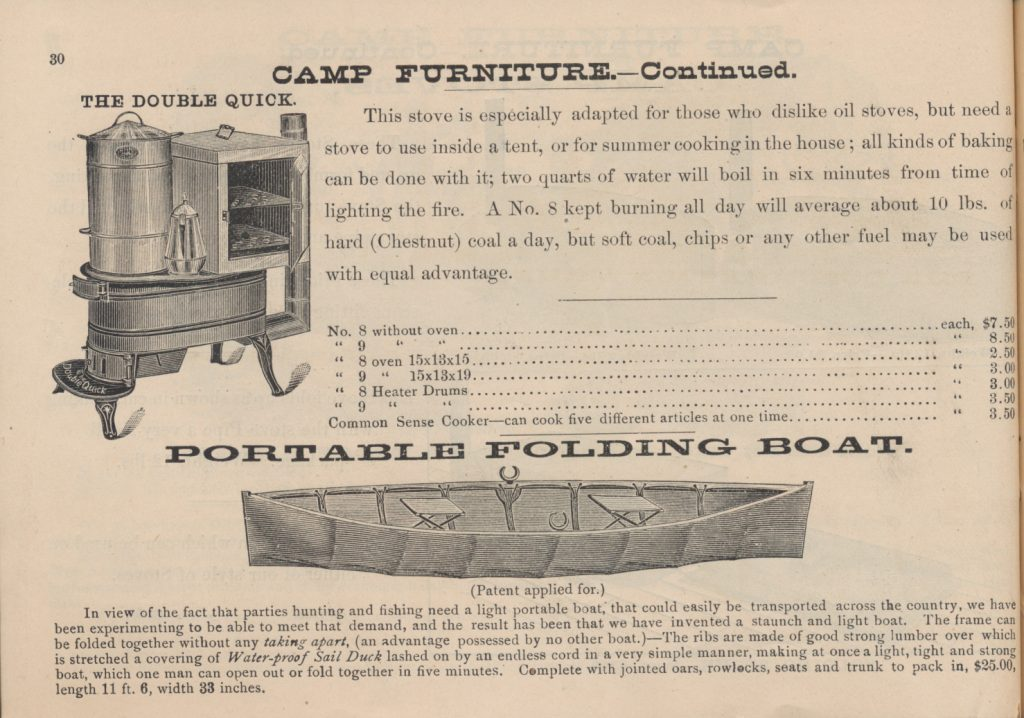 camp stove and portable folding boat