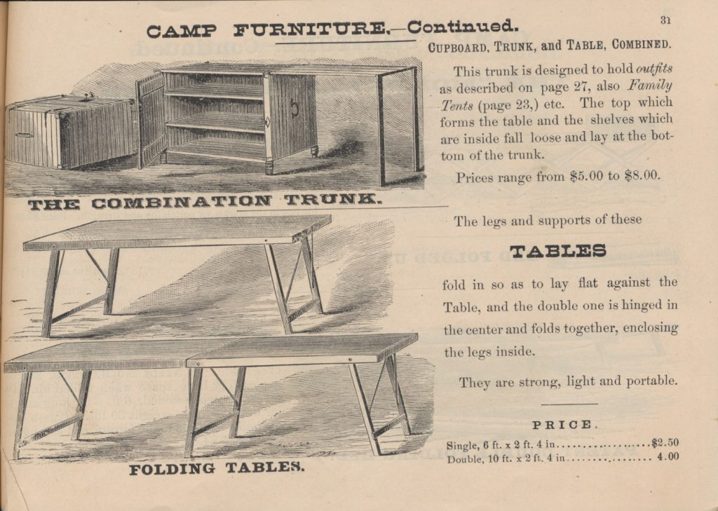 Combination Trunk in both closed and expanded positions, single folding table, and double folding table