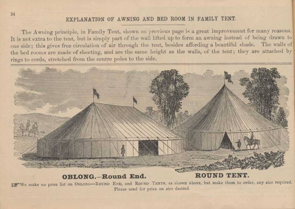 one person outside oblong tent and one person and horse with rider outside round tent