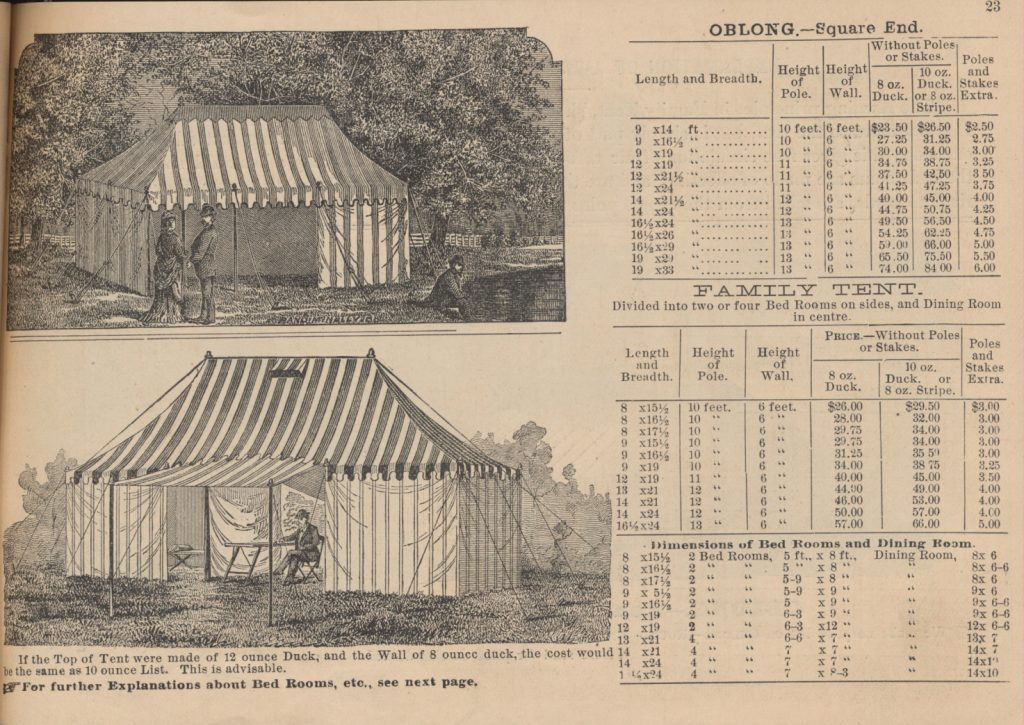 three people outside Oblong Tent and one person sitting at table inside Family Tent with awning