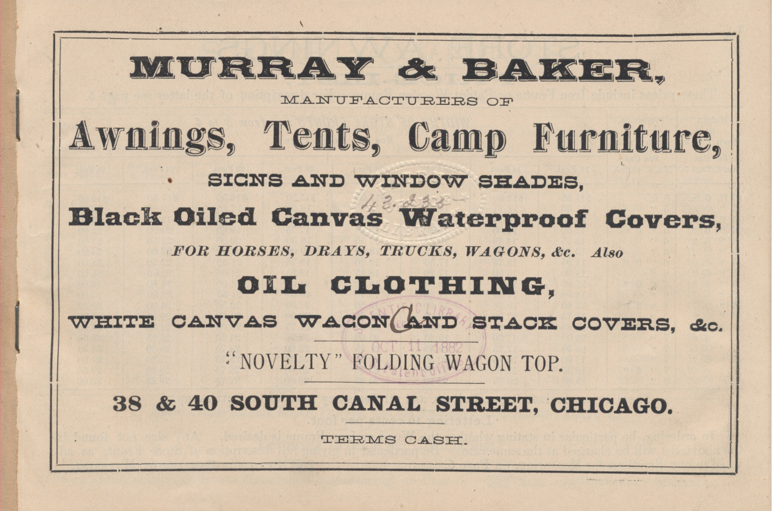 title page of trade catalog, Awnings and Tents, Signs and Banners by Murray & Baker