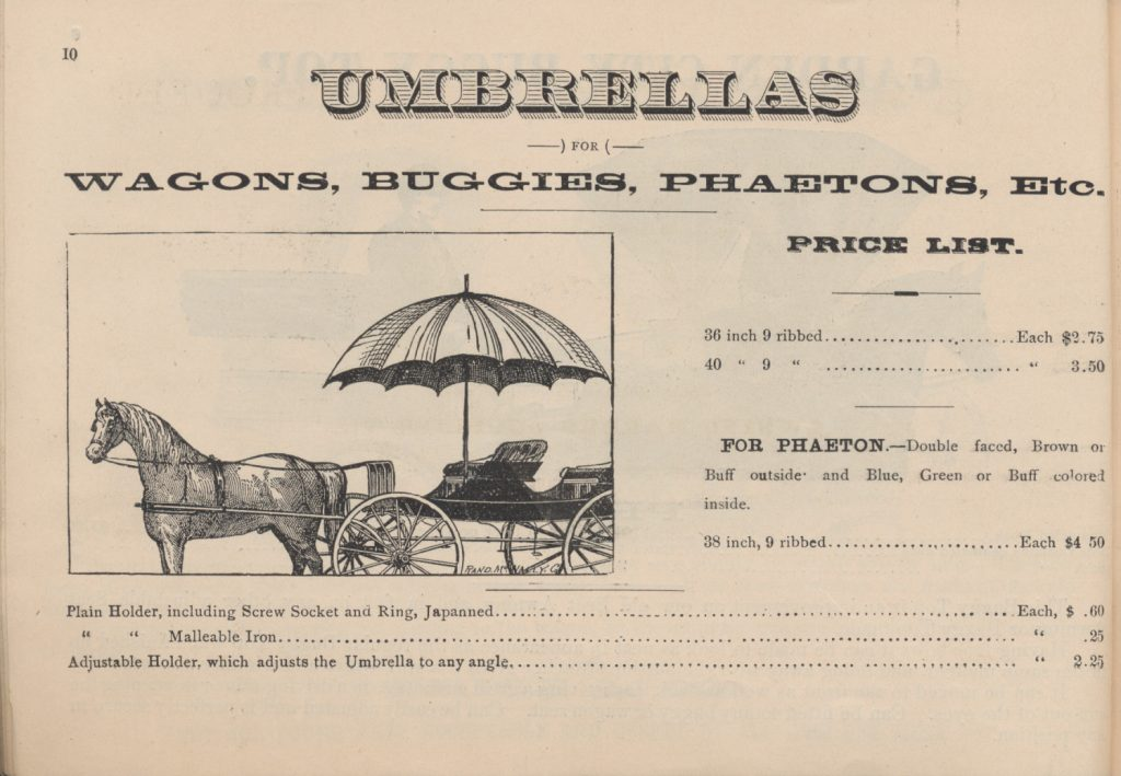horse and wagon with umbrella