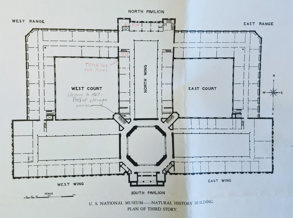 Architectural drawing of building showing West Wing, West Court, North Wing, South Pavilion, East Court and East Wing.