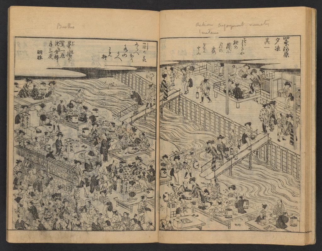 Black and white woodblock print of busy Japanese street scene divided by river with pedestrian walkway.