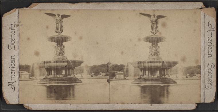 Stereoscope photography of large fountain topped with angel figure.