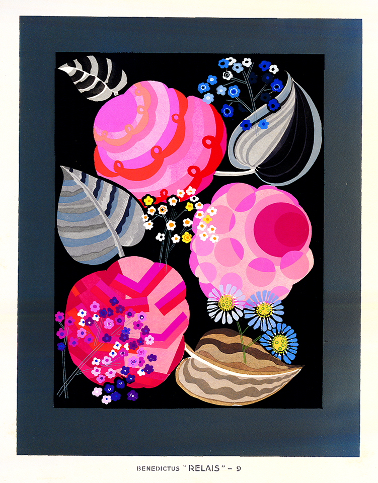 Design with multipatterned pink flowers and gray leaves on black background.