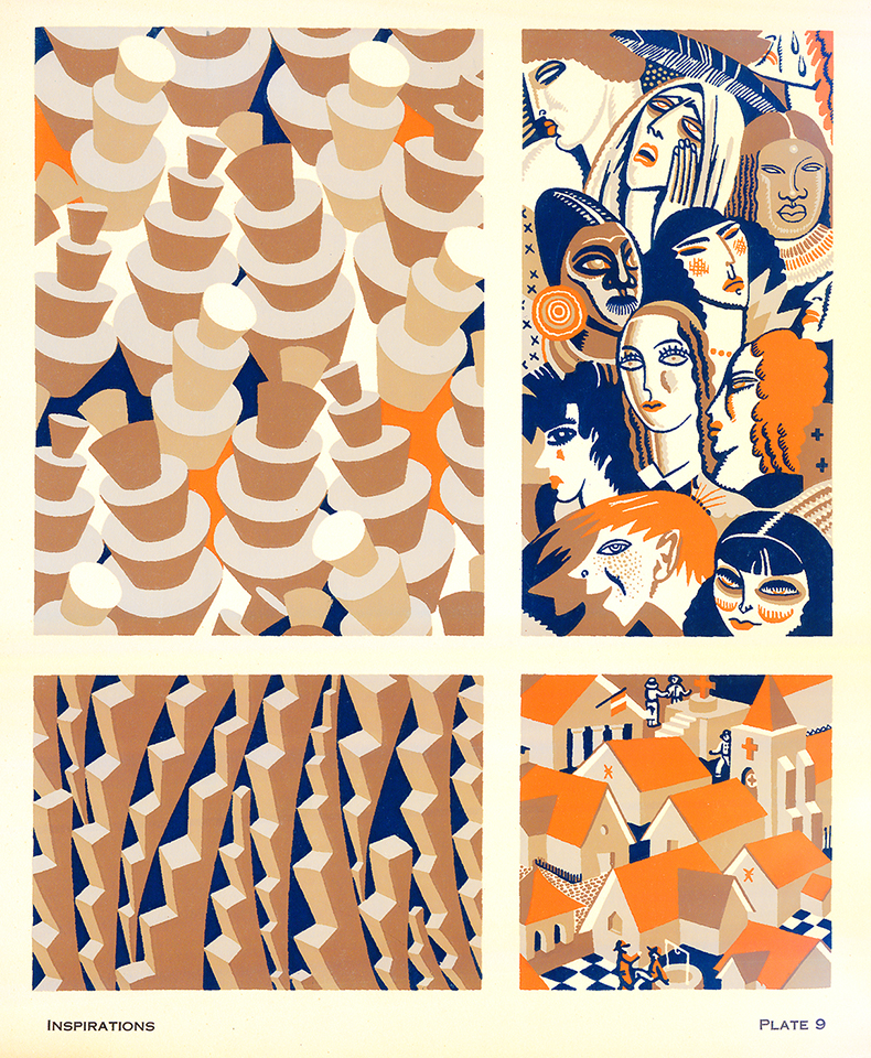 Grid of four patterns in tones of beige, tan, orange and blue.