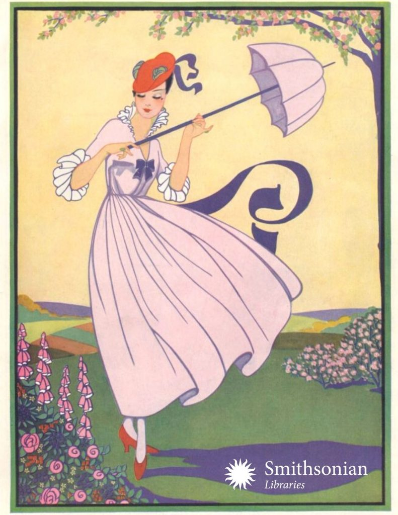 Illustration of woman in pink dress holding matching umbrella.