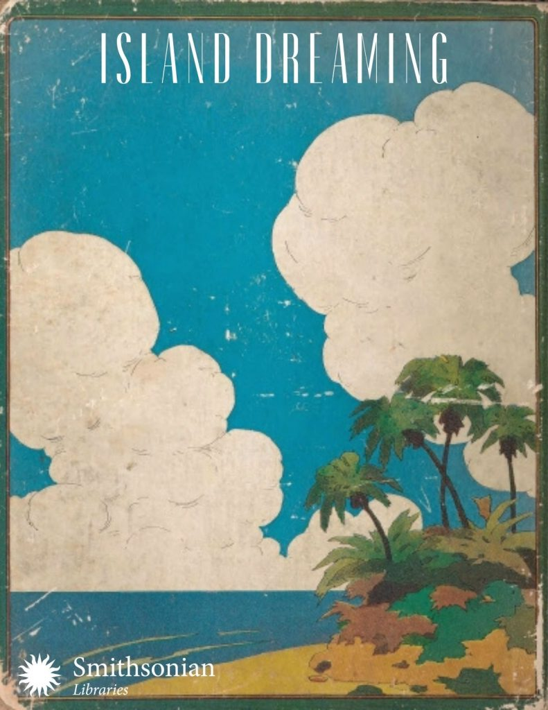 Illustration of island with palm tree, blue skies and clouds.