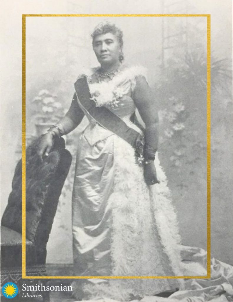 Black and white photograph of Queen Lili'uokalani, Hawaiian woman in gown with sash.