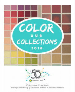 Cover of coloring packet with color swatch design.