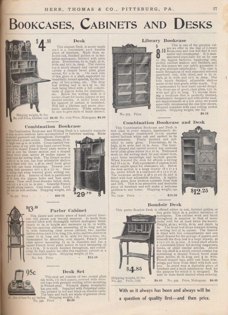 desk, library bookcase, combination bookcase, combination bookcase and desk, parlor cabinet, boudoir desk, and desk set