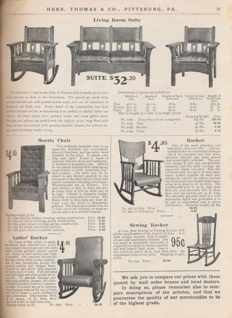 three-piece Living Room Suite consisting of rocker, tete, and chair, a Morris Chair, Rocker, Ladies' Rocker, and Sewing Rocker