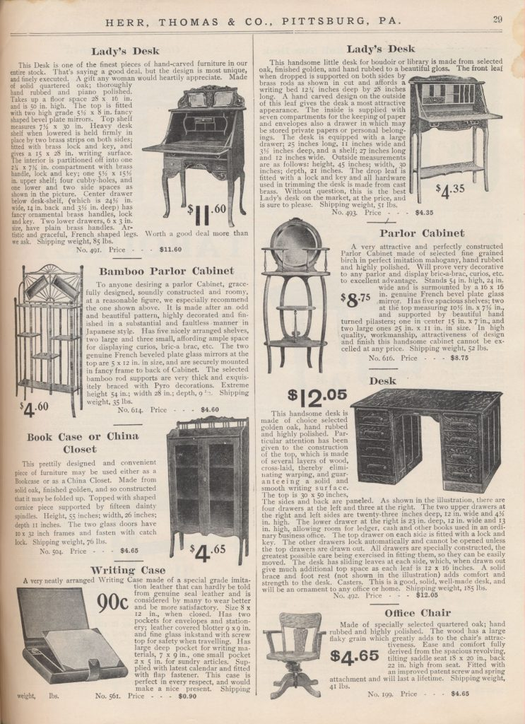 Lady's Desk, Bamboo Parlor Cabinet, Parlor Cabinet, Book Case or China Closet, Writing Case, Desk, and Office Chair