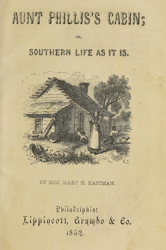 Title page with center picture of enslaved woman in front of cabin.