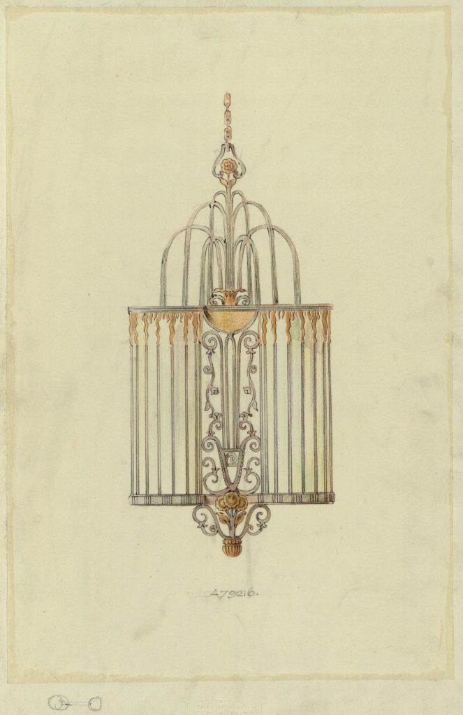 Drawing of Art Deco-style chandelier.