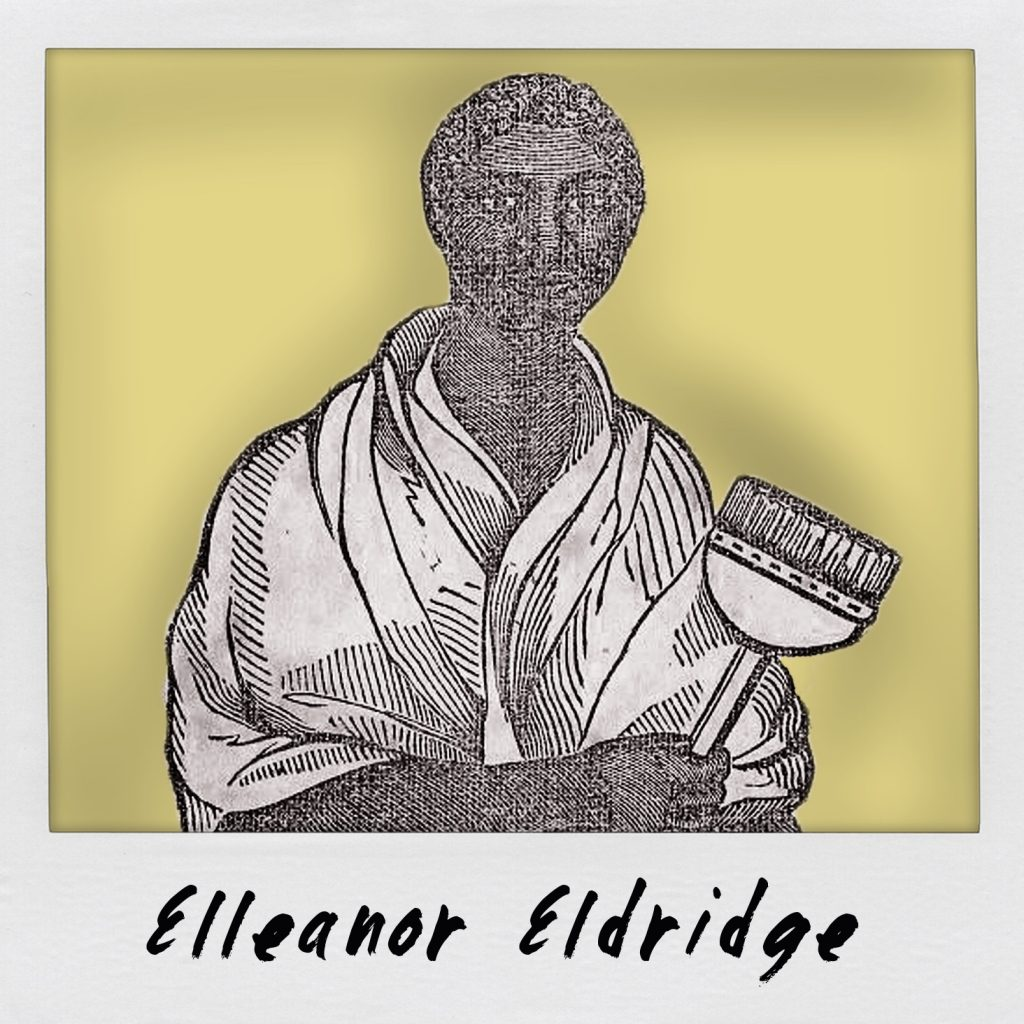 Graphic featuring black and white engraving of African American woman holding broom.