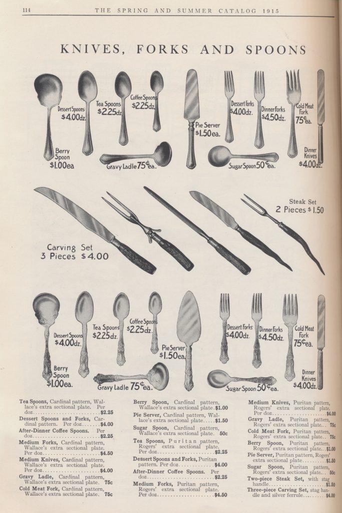 knives, forks, spoons, and serving utensils