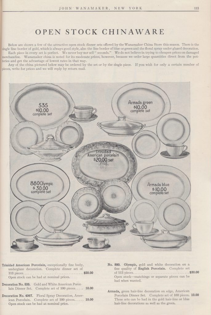dinner sets including plates, cups and saucers, and serving dishes