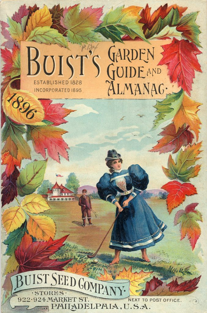 Seed catalog cover with woman playing golf and autumn leaves.