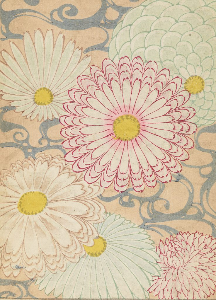 Pattern with peach background and five large, abstract mums.