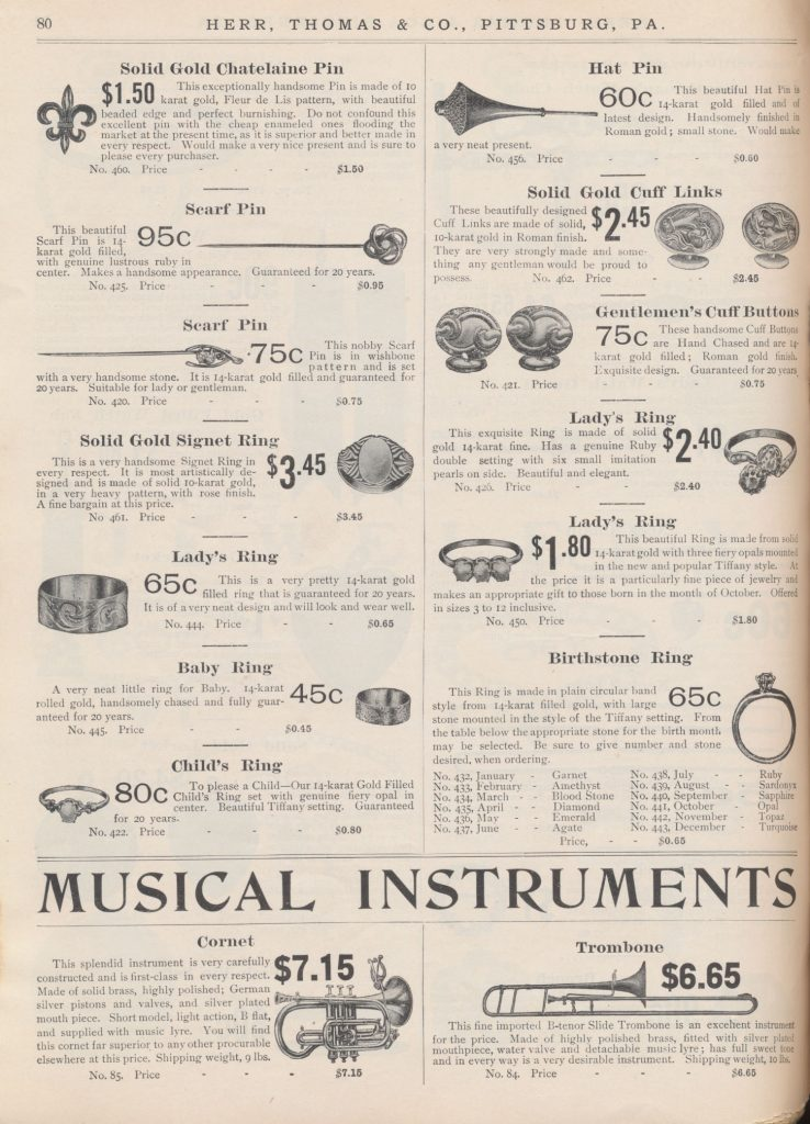 jewelry including pins, cuff links, cuff bottoms, and rings and musical instruments including cornet and trombone