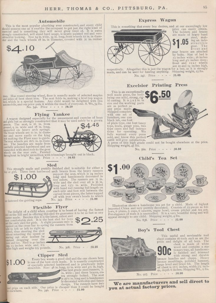 "Child's ""automobile,"" wagons, sleds, printing press, child's tea set, and boy's tool chest"