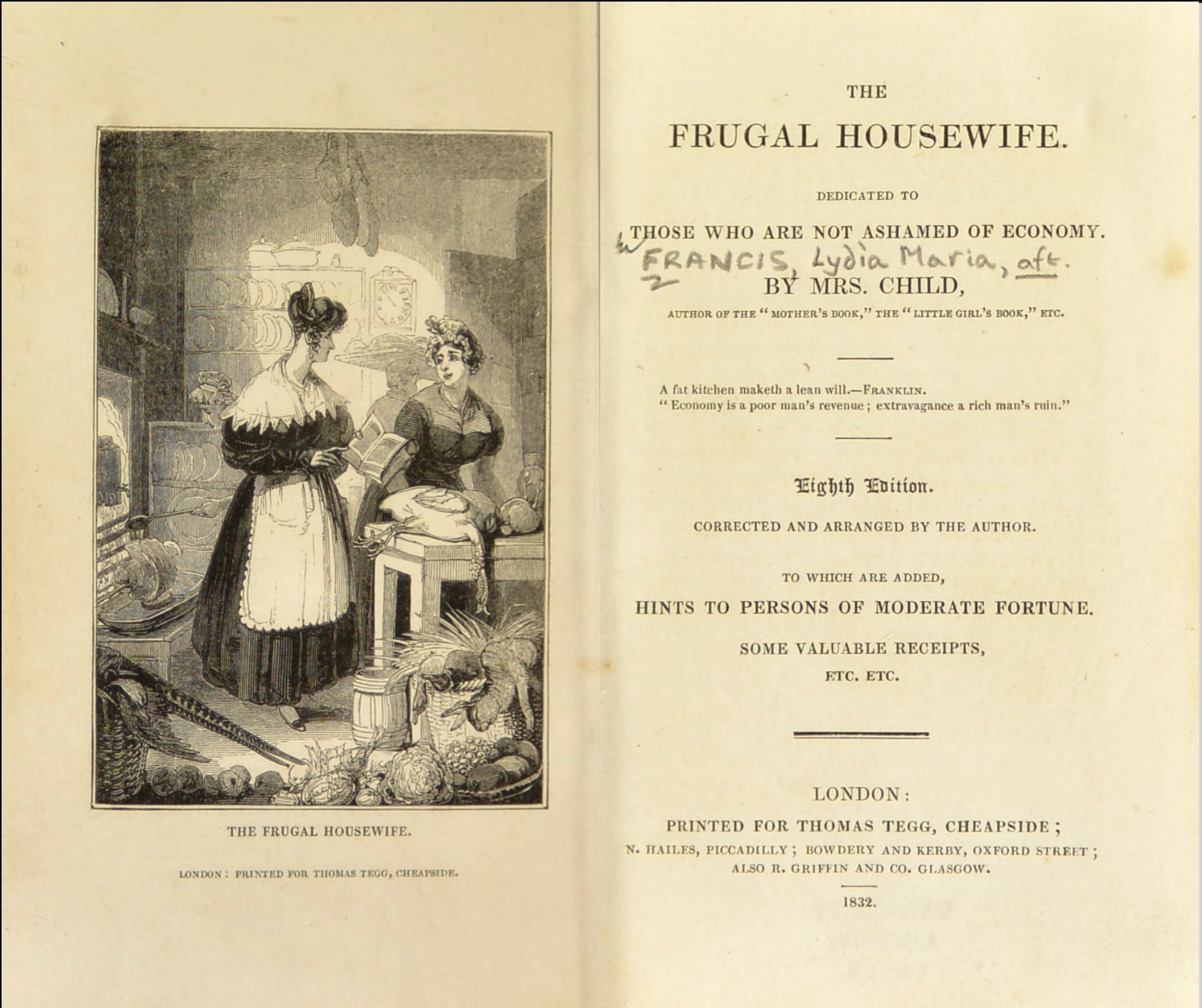 "Page opening of book. Left side with engraved scene of women in 19th century kitchen. Right side title page text for ""The Frugal Housewife""."