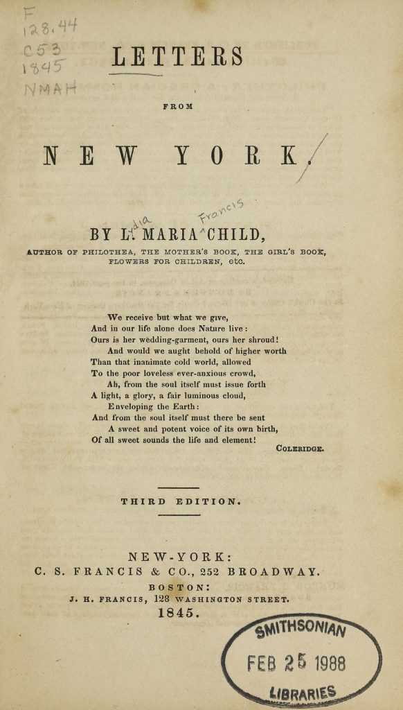 "Title page text from ""Letters from New York"""