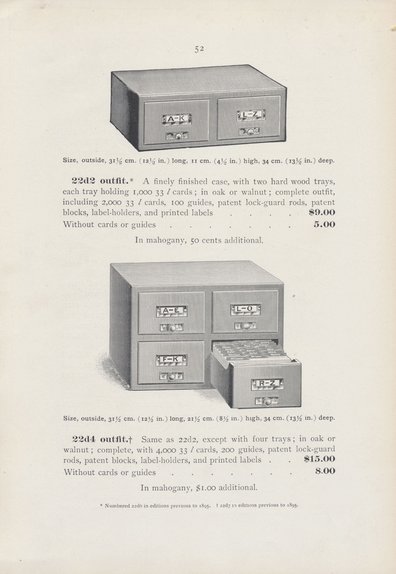 two-tray card catalog and four-tray card catalog with open tray filled with guides and cards