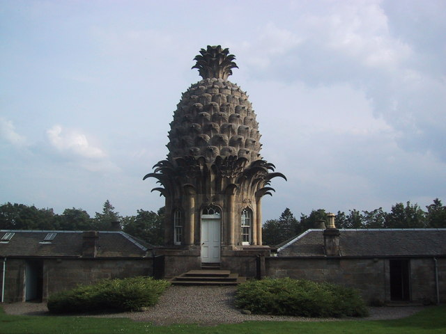 Color photograph of pineapple shaped architectural dome.