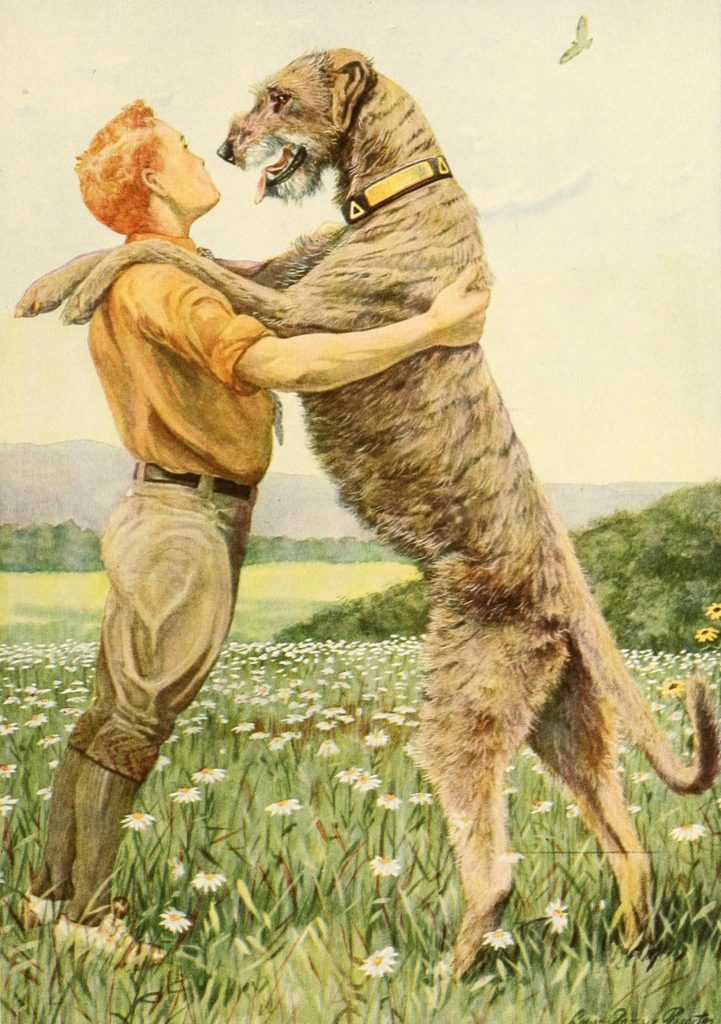 Book illustration of large dog standing on hind legs with front legs on a young person's shoulders.