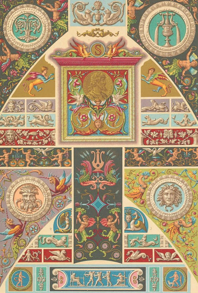 19th century lithographic illustration featuring variety of multi-colored Renaissance designs and motifs.