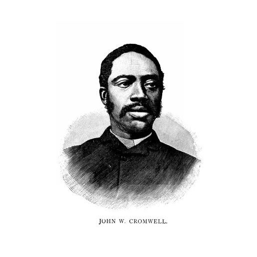 Black and white engraved portrait of John Wesley Cromwell